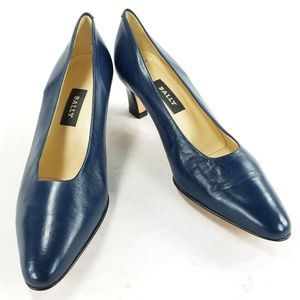 Bally Rosebud Womens Blue Style Heels Pumps Shoes
